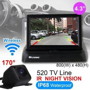 "4.3/"" Foldable LCD Monitor Wireless IR Reversing Parking Camera Car Rear View UK"