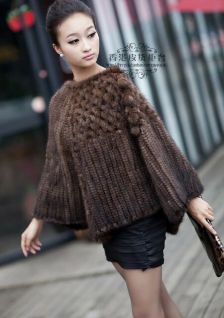 100% Real Genuine Knitted Mink Fur Poncho Stole Cape Jacket Coat Ladies Vintage