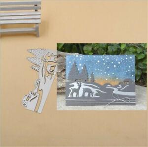 Stanzschablone-Elch-Fluss-Tannenbaum-Weihnachten-Geburtstag-Hochzeit-Album-Karte