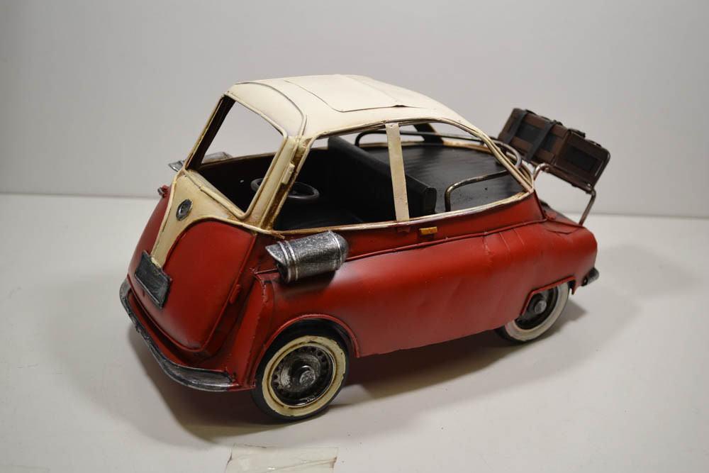 Blech-Auto Isetta rot weiß 28 x 17 x 14 cm (25)