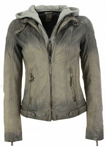 Gipsy-señora chaqueta  de cuero capucha lammnappa Taupe Antik  hermoso