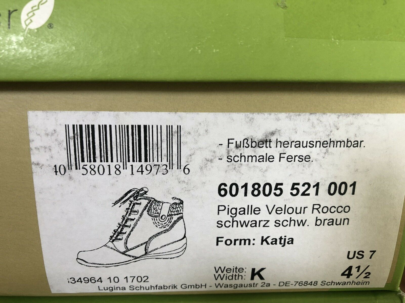 BRAND NEW WALDLAUFER WALDLAUFER WALDLAUFER ladies zip lace wool lined ankle boots-black leather UK 4.5 8d0ad0