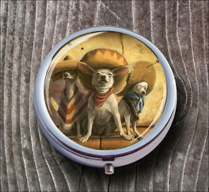 DOGS-3-MEXICAN-CHIHUAHUA-BANDIDOS-PILL-BOX-ROUND-METAL-mks5Z