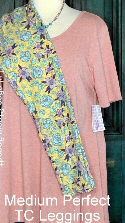 LulaRoe OUTFIT M Perfect T Heathered Pink TC Leggings Pink Yellow Floral NWT