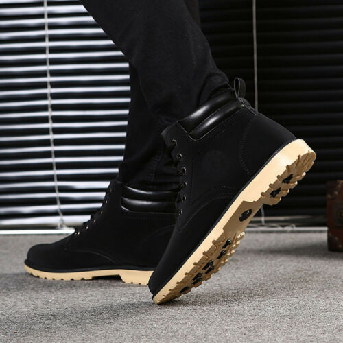 Fashion Men/'s Autumn Warm Ankle Boots Fur Lined Martin Boot Outdoor Casual Shoes