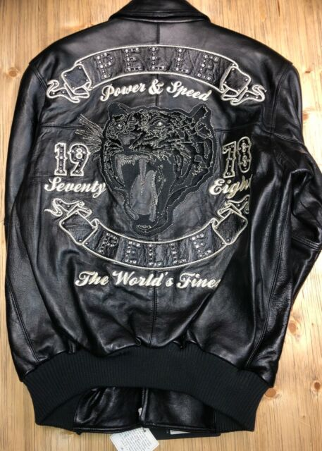 ee4c166e6 Pell Pelle Men's Leather Jacket Black Plush Power and Speed Panther FurLogo  Size
