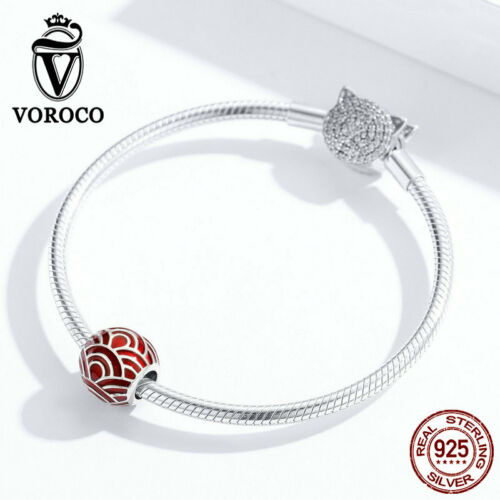 925 Sterling Silver Bracelet Charms Beads Red Enamel Pendants Fit Chain VOROCO
