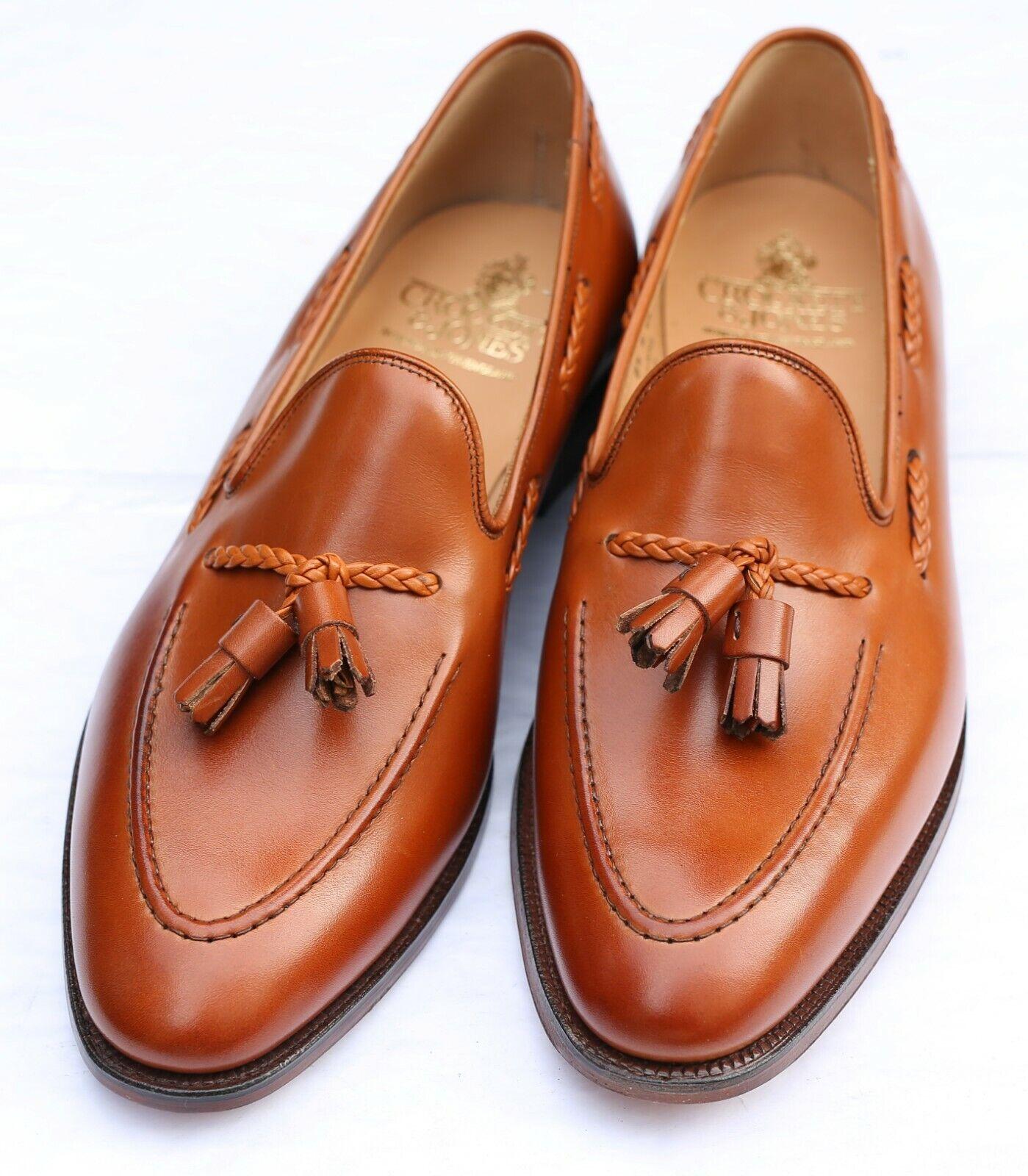 Nuevo Y Sellado Crockett & Jones 'Langham 2' tan Tassled Mocasín Zapatos