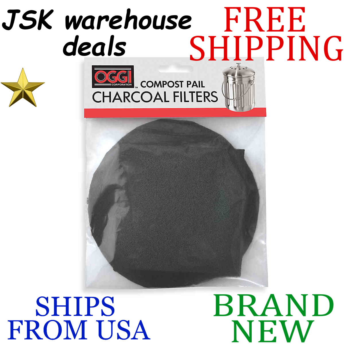 Set of 2 5427 5448 and 7700 Oggi Replacement Charcoal Filters for Compost Pails # 7320