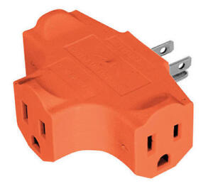 1X 3 Way Outlet Wall Triple Tap Adapter Grounded Electrical Splitter ...