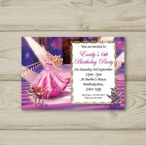Image Is Loading Barbie Birthday Party Invitations Personalised