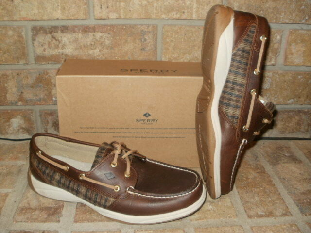 NEW SPERRY TOP-SIDER INTREPID WOOL PLAID BROWN LEATHER BOAT SHOE  STS99113  90