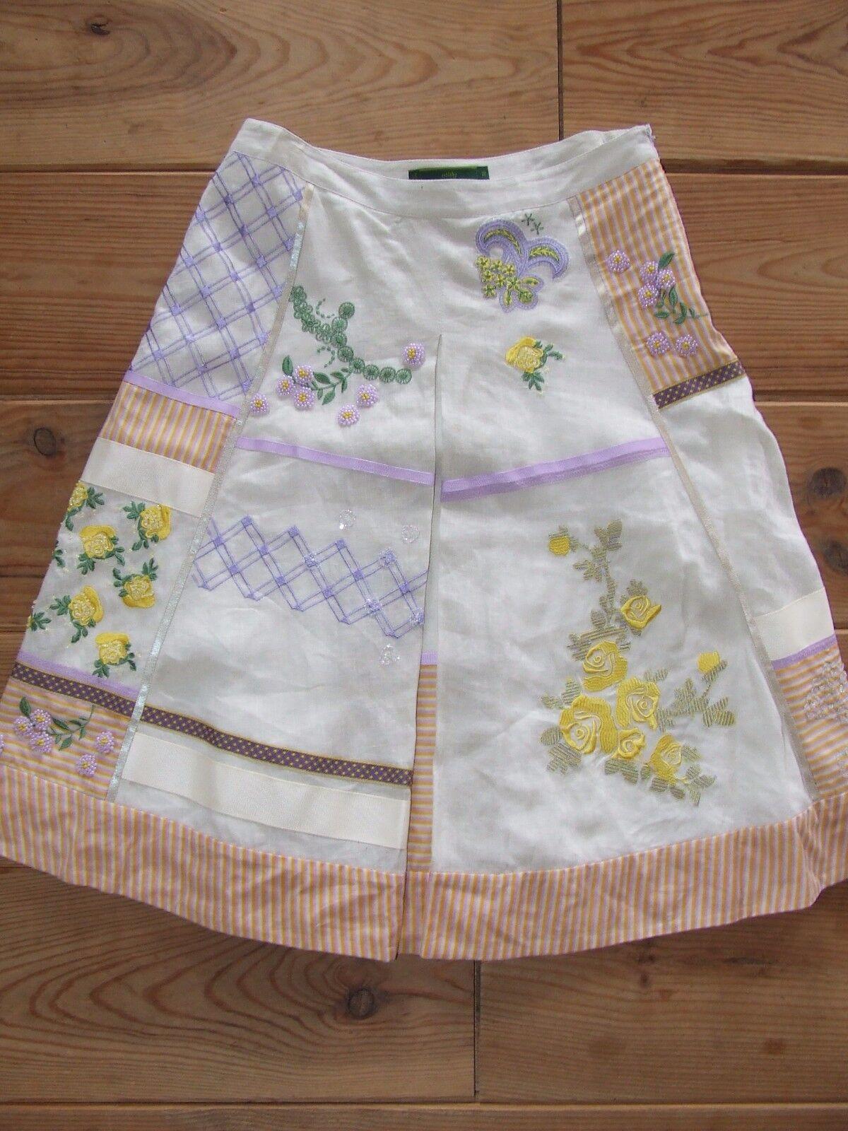 SALE stunning Oilily skirt beading purple yellow AGAN size 38   8