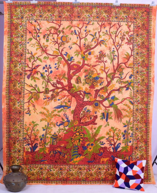 Orange Tree of life Tapestry Wall Hanging Hippie Tapestry Indian Queen Bedspread
