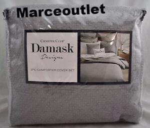 Charter-Club-Damask-Designs-Diamond-Dot-Cotton-FULL-QUEEN-Duvet-amp-Shams-Set-Gray