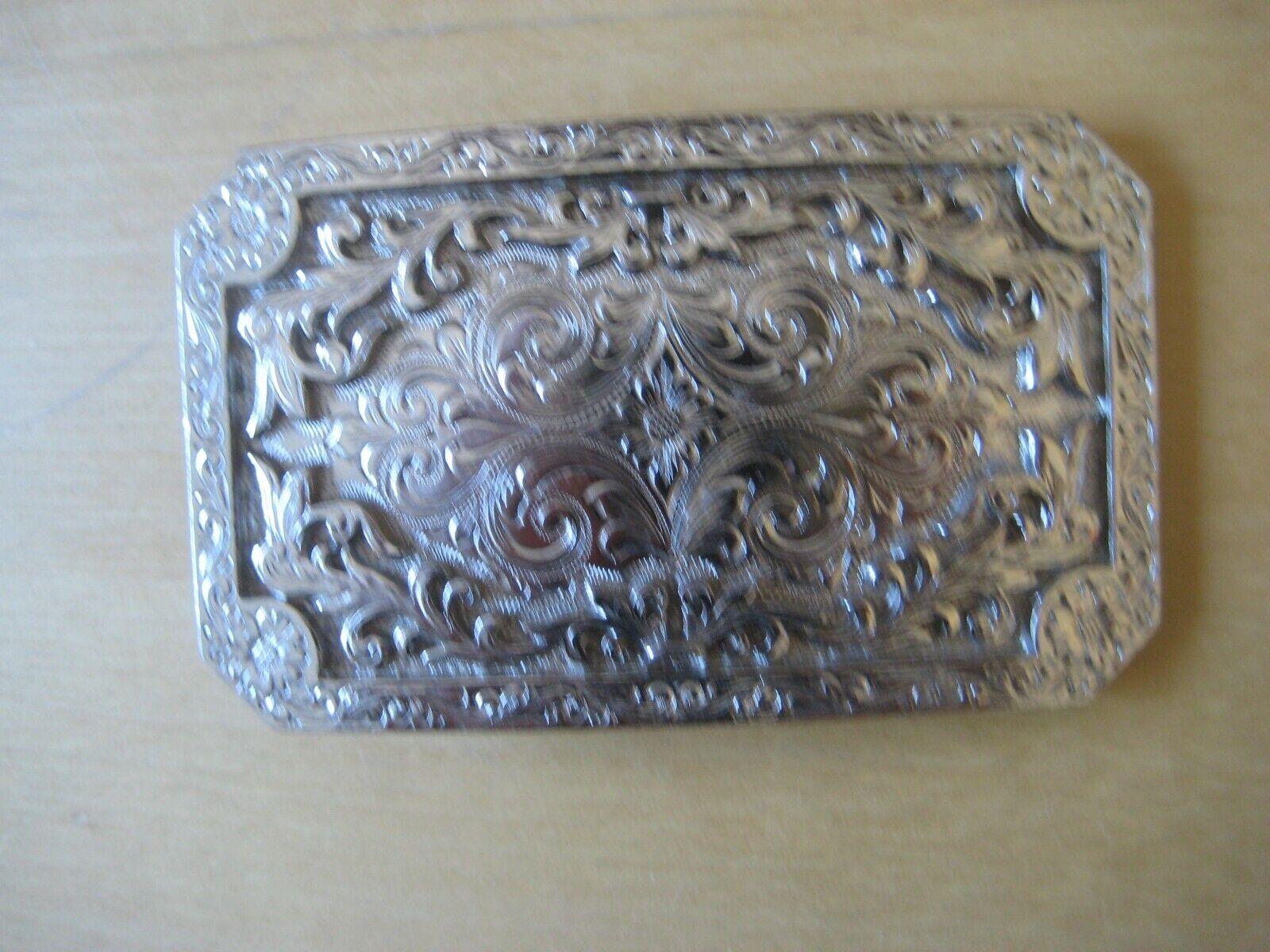Woman's Silver Engraved Belt Buckle 3.5 x 2