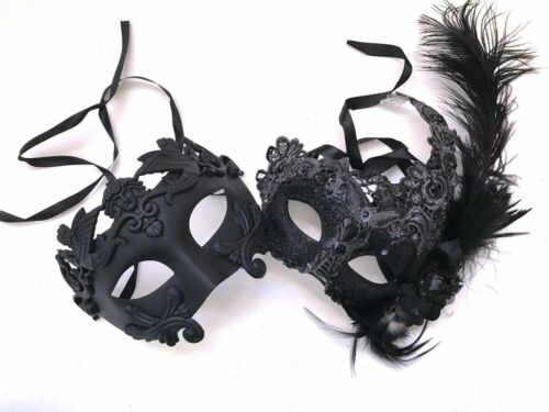 Feather Roman Gladiator Masquerade ball mask pair bachelor Halloween Prom Party