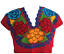 Floral-Mexican-Blouse-Embroidered-Authentic-Handmade-Cotton-Red thumbnail 2
