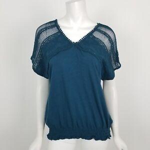 c22626faf7d LC Lauren Conrad Blouse Womens Size XS Teal Crochet Lace Short ...