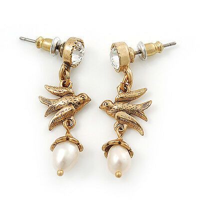 /'beeLa/' Gold /& Freshwater Pearl Drop Earrings Antique Vintage Luxury