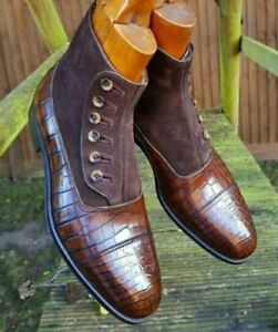 la marron à pour à en boutonnées main Bottes daim texture hommes crocodile cuir en qE8U56w