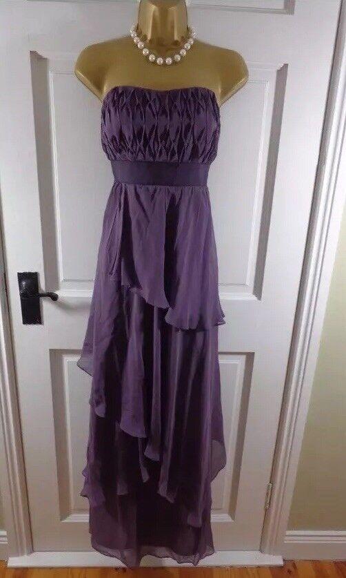 Stunning Monsoon Purple Prom Dress Ball Gown Tiered 100% Silk maxi long Size 14