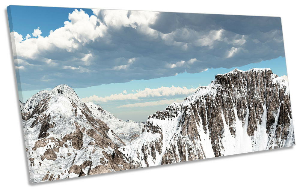 Mountain Landscape Snow Framed PANORAMIC CANVAS PRINT Wall Art
