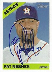 Autographed-2015-Topps-Heritage-338-Pat-Neshek-Houston-Astros