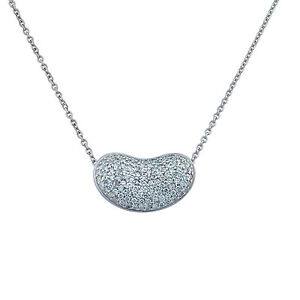 14k white gold diamond puffy heart pendant necklace 16 inch chain image is loading 14k white gold diamond puffy heart pendant necklace aloadofball Gallery