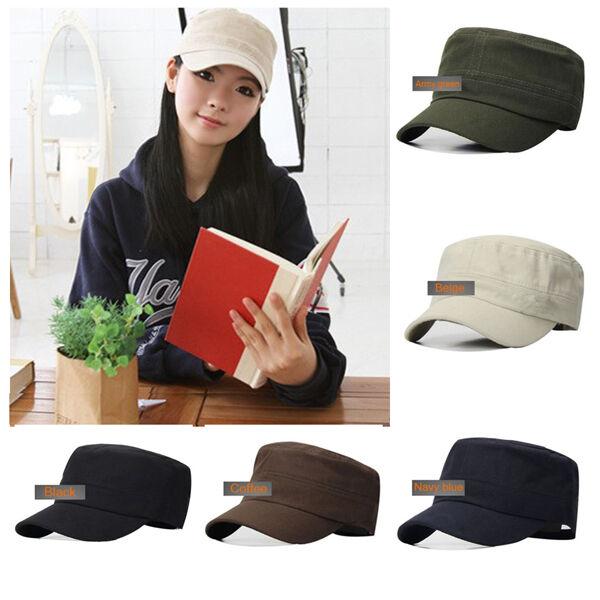 Fashion Classic Plain Vintage Army Hat Cadet Military Patrol Cap Adjustable