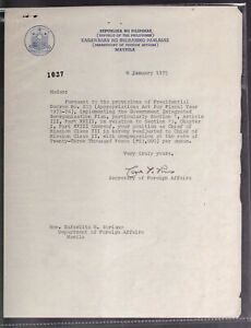 Philippines 1975 Carlos P Romulo Autograph on Dept. Foreign Affair Letter head