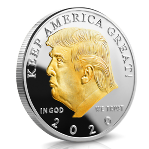 Trump 2020 KEEP AMERICA GREAT Gold/&Siver Plated 2 Tone Eagle Coin Lwx Donald J