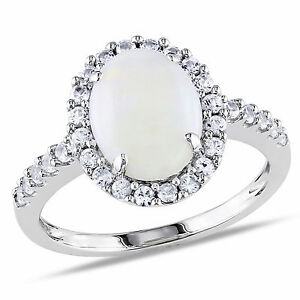 Amour-10k-White-Gold-2-1-4-Ct-TGW-Opal-and-Created-White-Sapphire-Cocktail-Ring