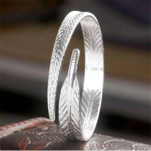 Women-925-Silver-Plated-Vintage-Charm-Open-Cuff-Bangle-Bracelet-Jewelry-Gift