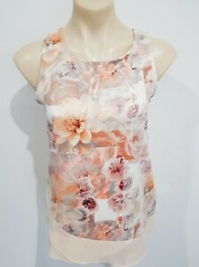 Valleygirl-Size-S-Womens-Sleeveless-Floral-Peach-Cream-Top-Casual-Work-Spring