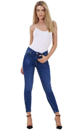 Ladies Skinny Crop Ankle Grazers Frayed Rip Ripped Stretch Denim Jeans RRP £45