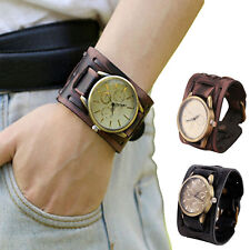 Men's Wide Strap Brown Leather Belt Punk Bracelet Watch Antique Style Wristwatch