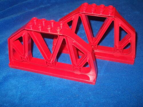 Lego Duplo Ville Eisenbahn 2 X Brückenpfeiler Geländer Brüstung Rot 3774 gross