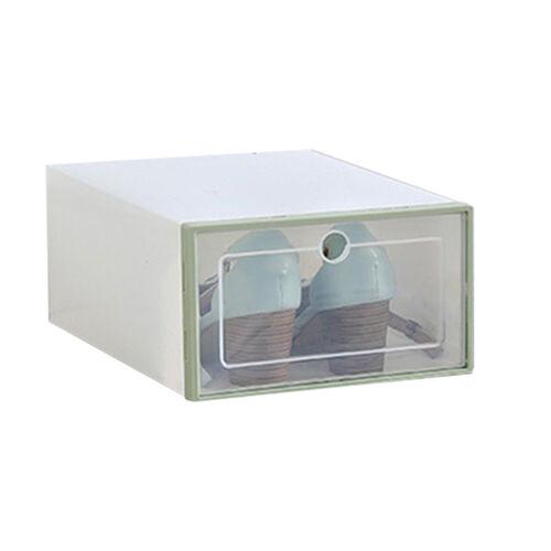FLIP-TYPE DUSTPROOF PLASTIC SHOE STORAGE CLEAR BOOT BOX STACKABLE CASE ORGANIZER