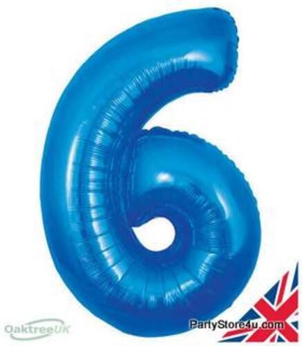 "Numéro 6 bleu 30/"" jumbo hélium numéro super forme foil balloon"