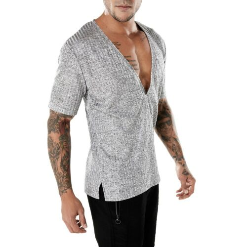Fashion Men/'s à manches courtes col en V profond T Shirt Tee silm fit chemisier Muscle Tops P