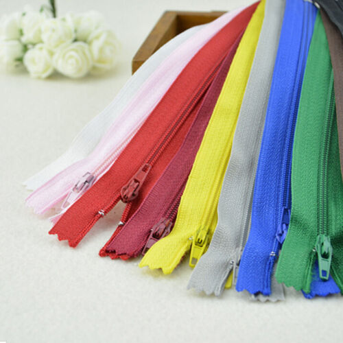 10pcs  Assorted Dress Upholstery Craft Nylon Metal Closed Open Ended Zips UK67