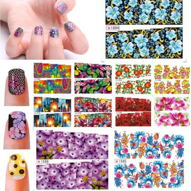 3D Design Flowers Nail Art Nail Decals Water Transfer Stickers Decoration Hot