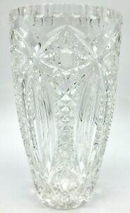 Stunning-Large-AMERICAN-BRILLIANT-Period-ABP-10-CUT-Lead-Crystal-VASE-5lbs-12oz