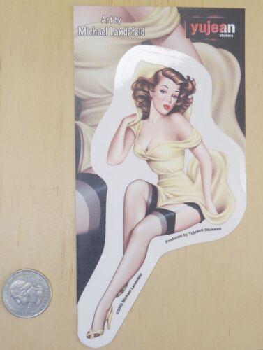 "/"" ROSE /"" PIN UP GIRL BY MICHAEL LANDEFELD PEEL /& STICK STICKER 3/"" X 5.5/"""