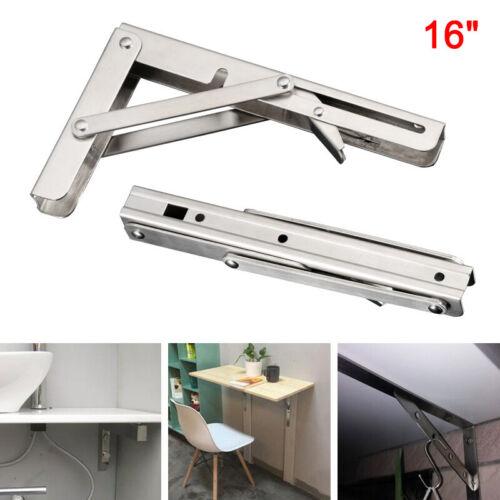 2pcs Stainless Steel Folding Table Bracket Shelf Bench 200kg Load Heavy Duty