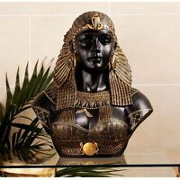 Egyptian Queen Cleopatra Neoclassical Regal Feathered Headdress Sculptural Bust