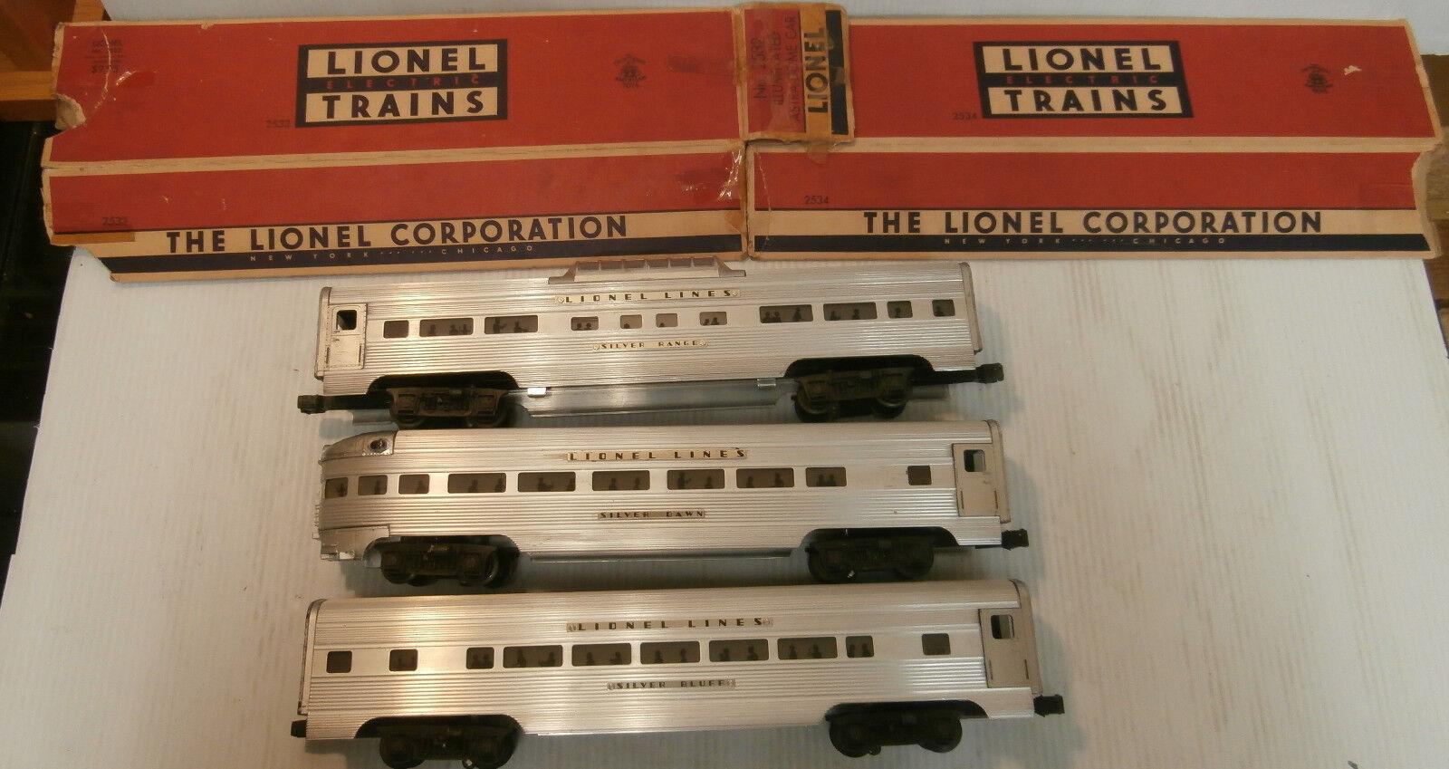 Lionel  's 2531 2532 2534 Passenger Cars w (2) Orig. Boxes