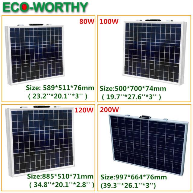 Mono/Poly Suitcase Folding Solar Panel Module Portable Kit 80W 100W 120W 200W