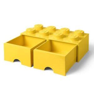 Officiel-Brique-Lego-Stockage-Boite-a-Jouet-8-avec-2-Tiroirs-Jaune-Enfants